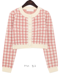 Wool Blend Check Cropped CardiganWITH CELEBRITY_HYO-JUNG(Oh My Girl)