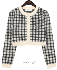 WOOL CHECK CROP KNIT CARDIGAN