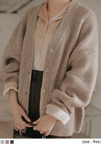 RIBI WOOL BOXY FIT KNIT CARDIGAN