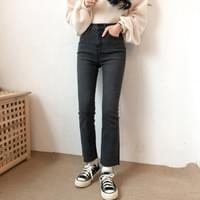 J656 high Flared black denim pants