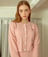 HEART CLUBPink Button-Front Crop Cardigan