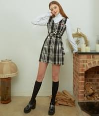 HEART CLUBBelted Check Sleeveless Dress