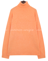 CASHMERE LOOSE TURTLE NECK KNIT