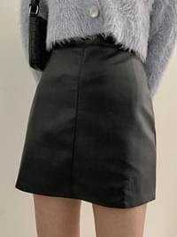 From Leather H Line Skirt
