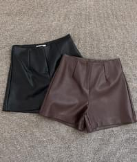Unit leather short pants