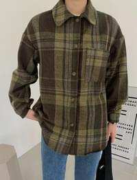 Earth Overfit Wool Check Shirt