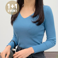 ♥1+1 Event♥ V-Neck Long Sleeve Knit Tee T#YW029