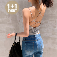 ♥1+1 discount♥ Built-in Cap Backless Cross Strap T#YW111