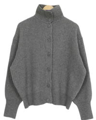 Rams Wool High Neck Collar Cardigan