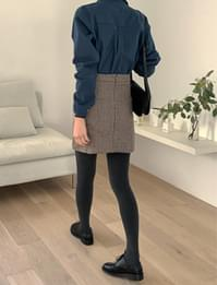 Hound Check Wool Mini Skirt