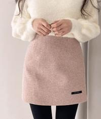 High Waist Woolen Skirt