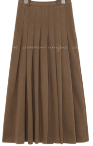 Side Zipper Pleated Long Skirt