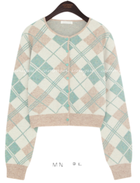Lambswool Blend Argyle Cropped Cardigan