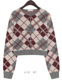 FAY WOOL 50% ARGYLE KNIT CARDIGAN