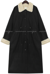 Faux Fur Lining Drawstring Coat