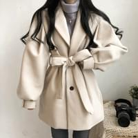 Balloon ribbon belted jacket