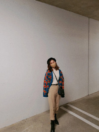 TOS CHECK JACQUARD KNIT CARDIGAN
