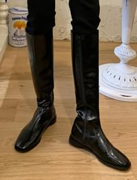 Glossy Wrinkle Square Long Boots