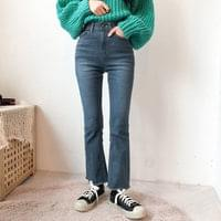 594 banding slim Flared denim pants
