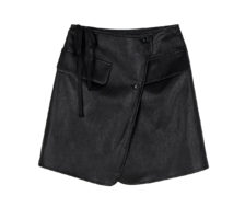 Margot leather wrap mini skirt