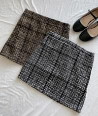 ROMANTIC MUSESemi-Elastic Waist Check Mini Skirt