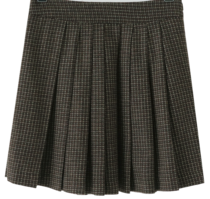 Color Mix Wool Pleated Mini Skirt