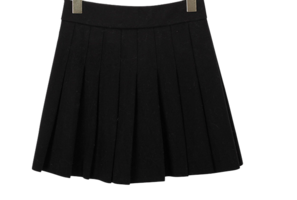 Pleated Pecky Wool Skirt