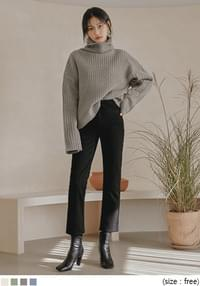 Funnel Neck Ribbed Knit Top