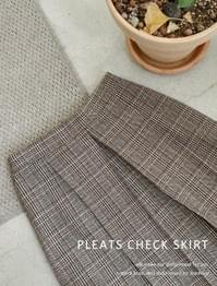 Story pleated check skirt