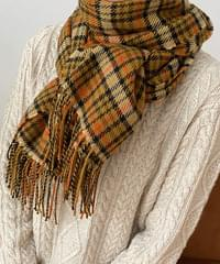 Orange check shawl