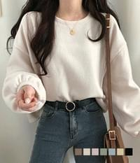 Popcorn Fleece-lined banding sleeve Sweatshirt