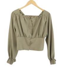 Sally shirring-neck blouse