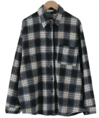 Ombre Check Warm Over Fit Shirt