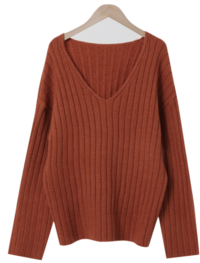 Ribbed deep V-Neck Julie Knitwear