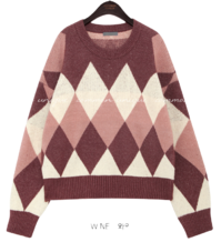 DOBBLE ARGYLE LOOSE FIT ROUND KNIT