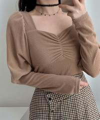 Sophia Puff Shirring Ribbed Knit Tea 3color