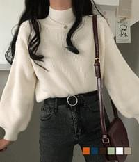 Shoyu Angora cropped half-neck knit
