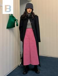 Suede Inverted Long Skirt