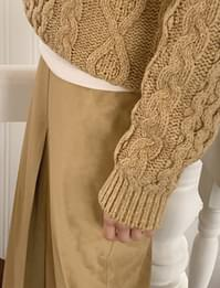 Melange Wool Cable Knit