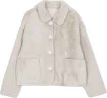 Creamy single fur jacket