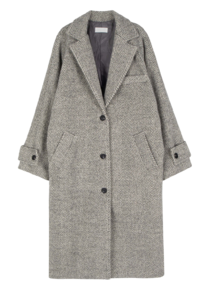 August wool herringbone long coat