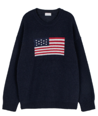 Unisex Stars and Stripes Rams Wool Crew Neck Knit