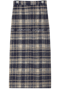 Wool Blend Check Long Skirt