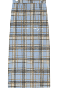 ELEANOR WOOL CHECK SLIT LONG SKIRT