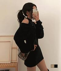 Soft Shoulder Split Mini One Piece + Wrap Knit Two Piece Set