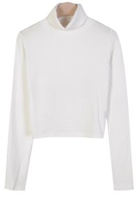 City Crop Fleece-lined Turtleneck T 長袖上衣