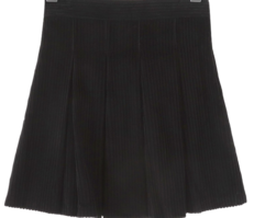 Inverted pleats corduroy mini skirt