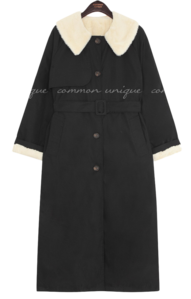 Fuzzy Lining Belted Trench Coat