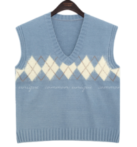 Argyle Panel V-Neck Knit Vest