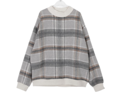 Mohair check sweat shirt